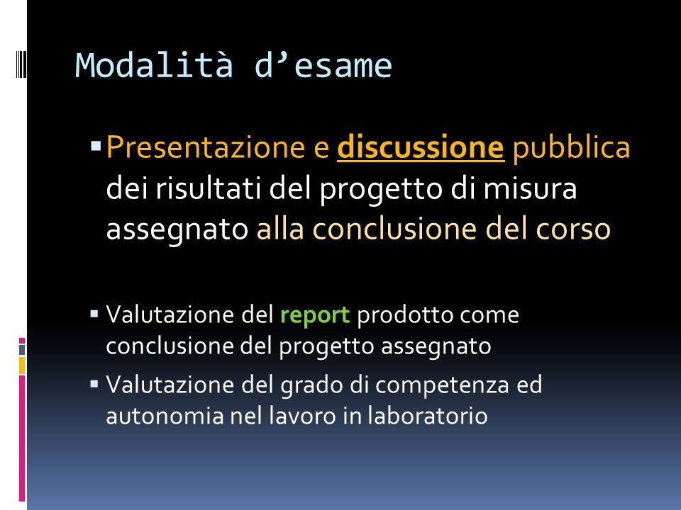 Modalità desame Presentazione e discussione pubblica dei risultati del progetto di misura assegnato alla conclusione del corso Valutazione del report