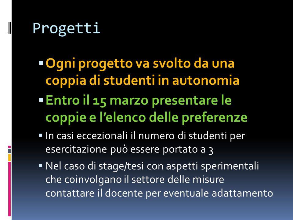 Progetti Ogni progetto va svolto da una coppia di studenti in autonomia Entro il 15 marzo presentare le coppie e lelenco delle preferenze In casi ecce