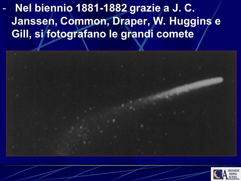 - Nel biennio 1881-1882 grazie a J. C. Janssen, Common, Draper, W. Huggins e Gill, si fotografano le grandi comete