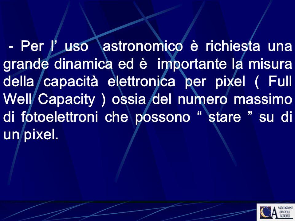 - Per l uso astronomico è richiesta una grande dinamica ed è importante la misura della capacità elettronica per pixel ( Full Well Capacity ) ossia de