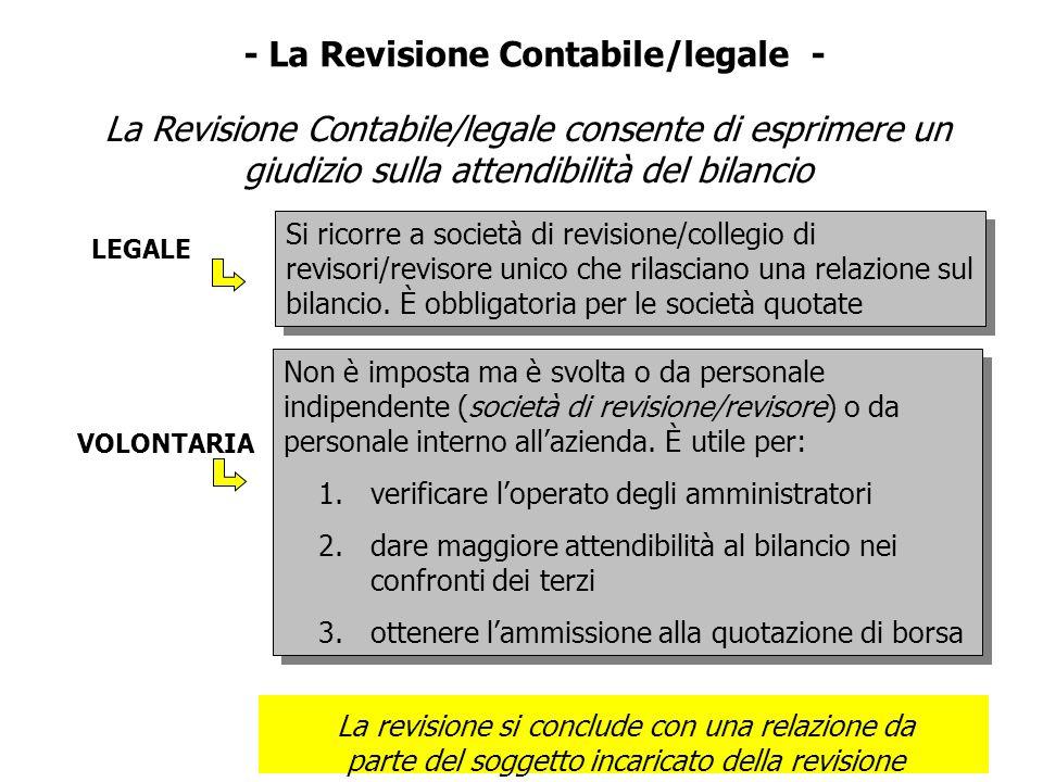- La Revisione Contabile/legale - La Revisione Contabile/legale consente di esprimere un giudizio sulla attendibilità del bilancio La revisione si con