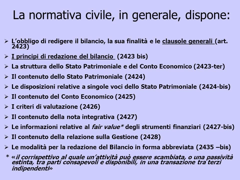 Lobbligo di redigere il bilancio, la sua finalità e le clausole generali (art. 2423) I principi di redazione del bilancio (2423 bis) La struttura dell