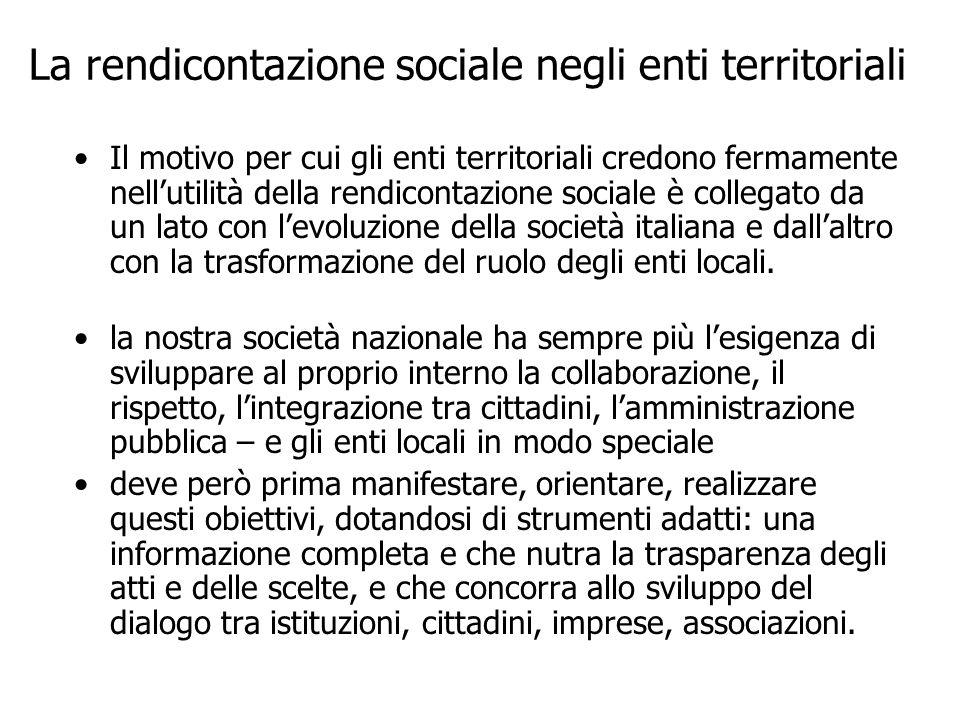 La rendicontazione sociale negli enti territoriali Il motivo per cui gli enti territoriali credono fermamente nellutilità della rendicontazione social