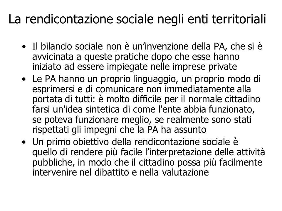 La rendicontazione sociale negli enti territoriali Il bilancio sociale non è uninvenzione della PA, che si è avvicinata a queste pratiche dopo che ess
