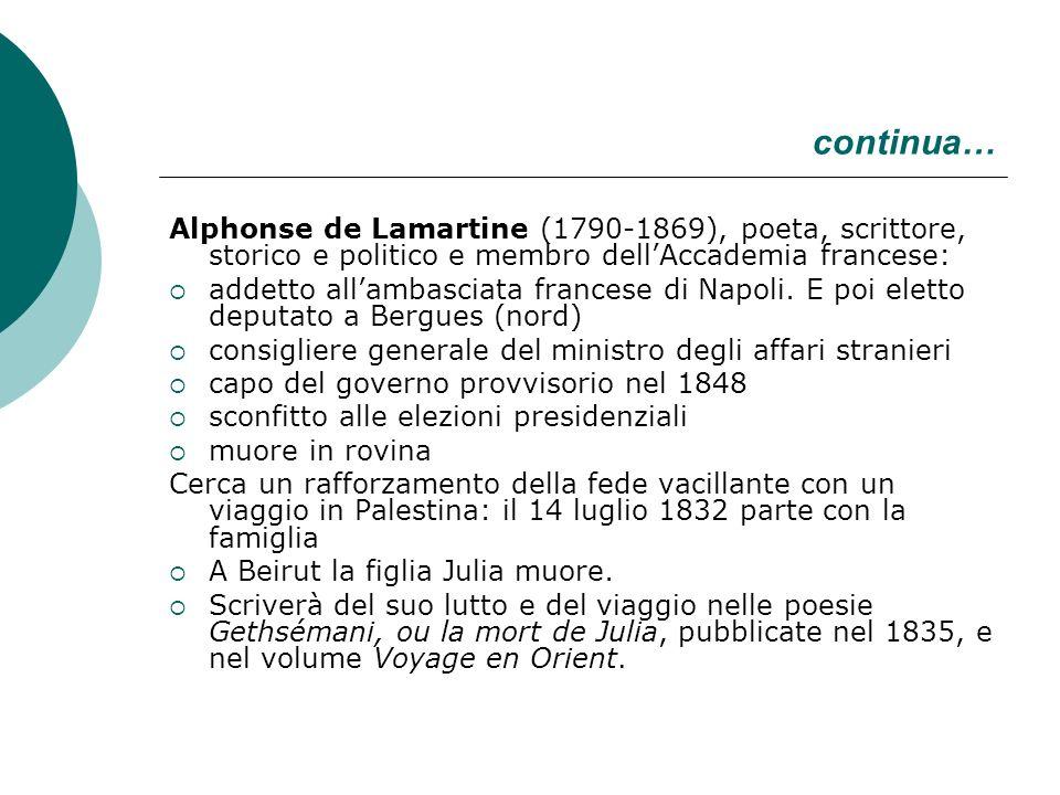 continua… Alphonse de Lamartine (1790-1869), poeta, scrittore, storico e politico e membro dellAccademia francese: addetto allambasciata francese di N