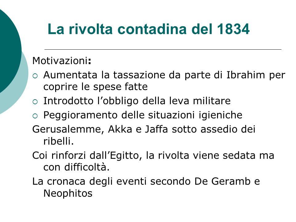 La rivolta contadina del 1834 Motivazioni: Aumentata la tassazione da parte di Ibrahim per coprire le spese fatte Introdotto lobbligo della leva milit
