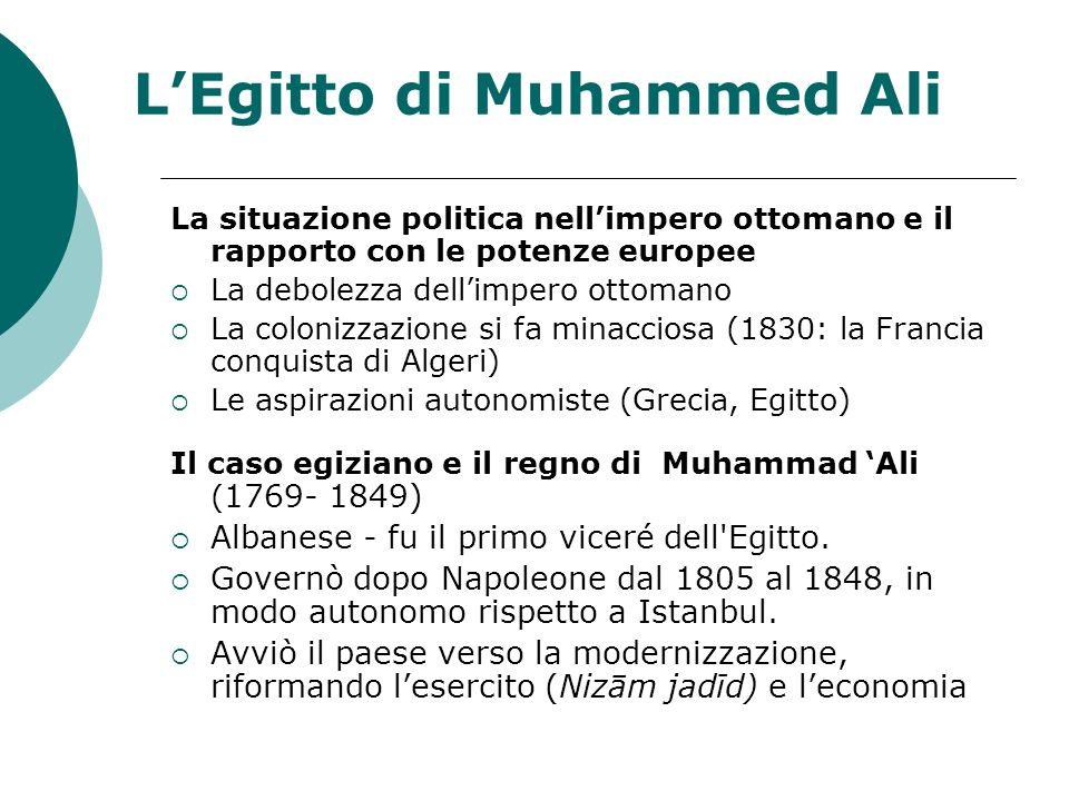 LEgitto di Muhammed Ali La situazione politica nellimpero ottomano e il rapporto con le potenze europee La debolezza dellimpero ottomano La colonizzaz