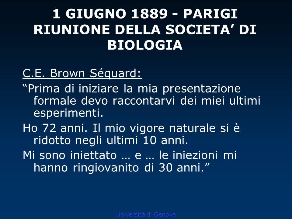 Università di Genova 1 GIUGNO 1889 - PARIGI RIUNIONE DELLA SOCIETA DI BIOLOGIA C.E. Brown Séquard: Prima di iniziare la mia presentazione formale devo