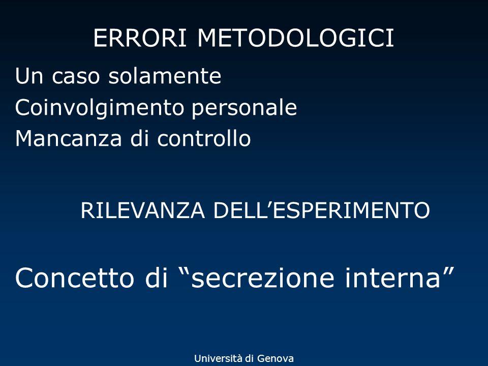 Università di Genova ERRORI METODOLOGICI Un caso solamente Coinvolgimento personale Mancanza di controllo RILEVANZA DELLESPERIMENTO Concetto di secrez