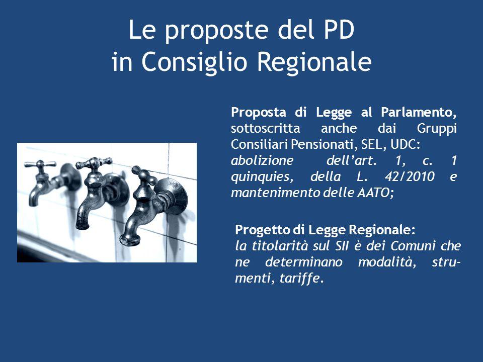 Le proposte del PD in Consiglio Regionale Proposta di Legge al Parlamento, sottoscritta anche dai Gruppi Consiliari Pensionati, SEL, UDC: abolizione dellart.