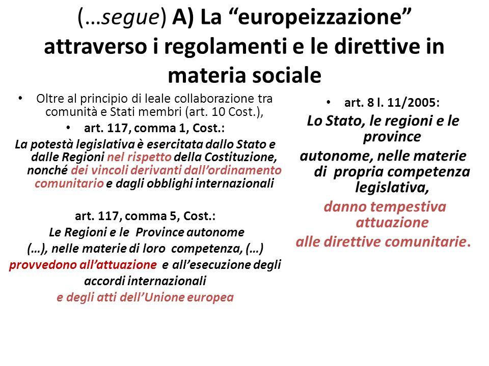 (…segue) A) La europeizzazione attraverso i regolamenti e le direttive in materia sociale Oltre al principio di leale collaborazione tra comunità e St