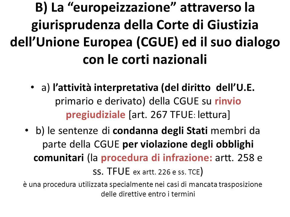 B) La europeizzazione attraverso la giurisprudenza della Corte di Giustizia dellUnione Europea (CGUE) ed il suo dialogo con le corti nazionali a) latt