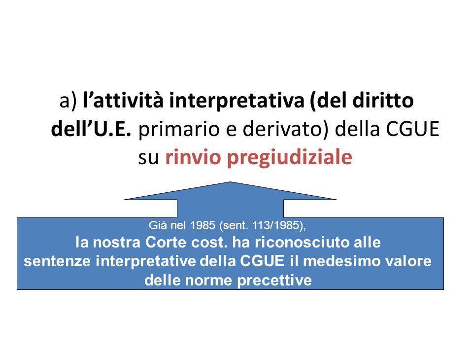 a) lattività interpretativa (del diritto dellU.E. primario e derivato) della CGUE su rinvio pregiudiziale Già nel 1985 (sent. 113/1985), la nostra Cor