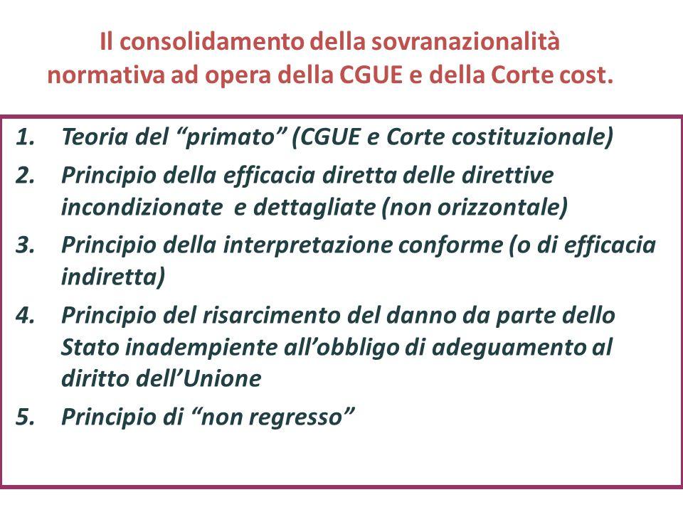 Il consolidamento della sovranazionalità normativa ad opera della CGUE e della Corte cost. 1.Teoria del primato (CGUE e Corte costituzionale) 2.Princi