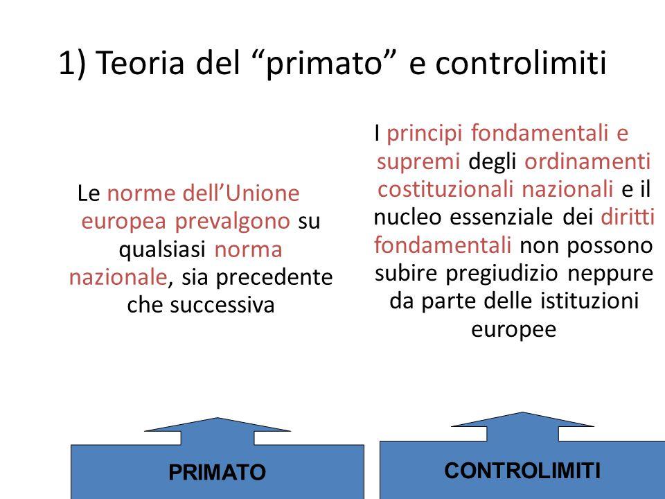 1) Teoria del primato e controlimiti Le norme dellUnione europea prevalgono su qualsiasi norma nazionale, sia precedente che successiva I principi fon