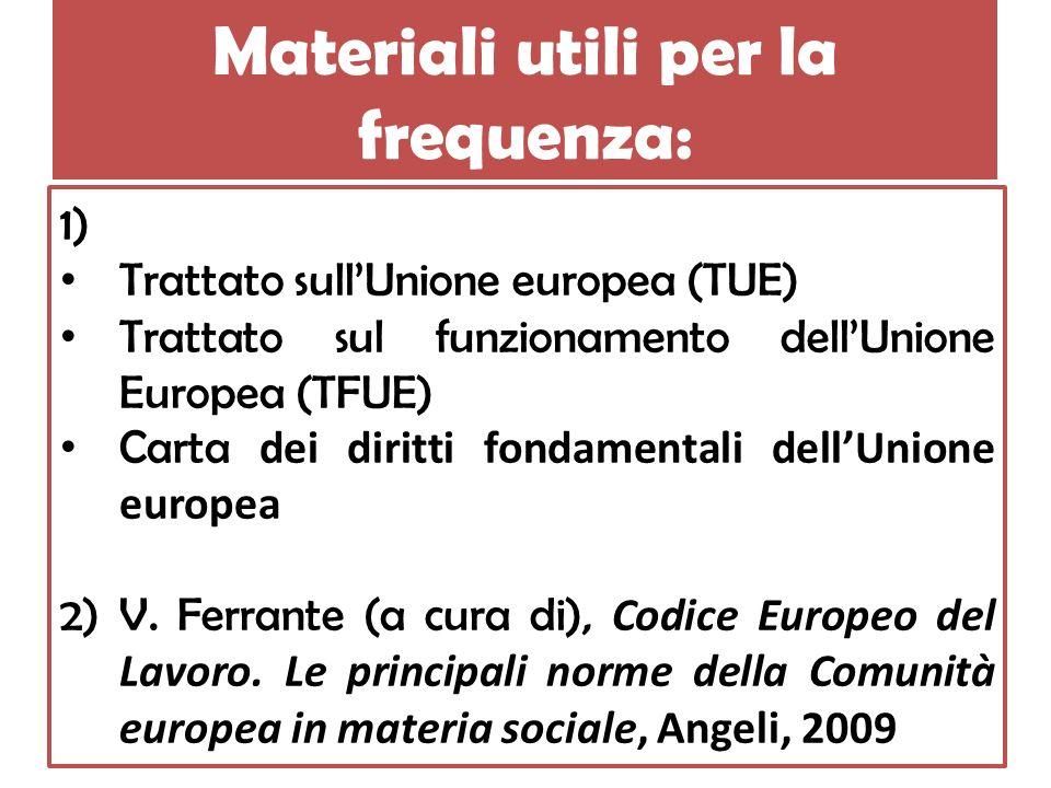 Materiali utili per la frequenza: 1) Trattato sullUnione europea (TUE) Trattato sul funzionamento dellUnione Europea (TFUE) Carta dei diritti fondamen