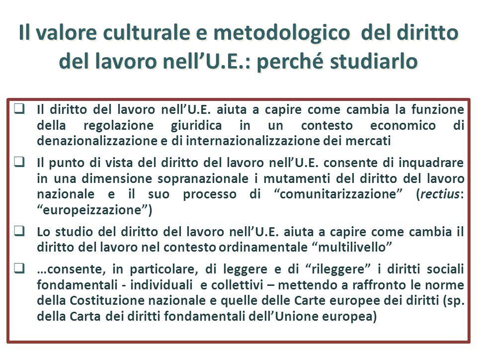 Il valore culturale e metodologico del diritto del lavoro nellU.E.: perché studiarlo Il diritto del lavoro nellU.E. aiuta a capire come cambia la funz