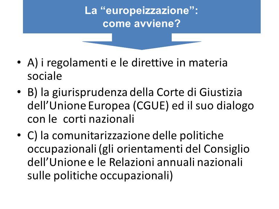 A) i regolamenti e le direttive in materia sociale B) la giurisprudenza della Corte di Giustizia dellUnione Europea (CGUE) ed il suo dialogo con le co