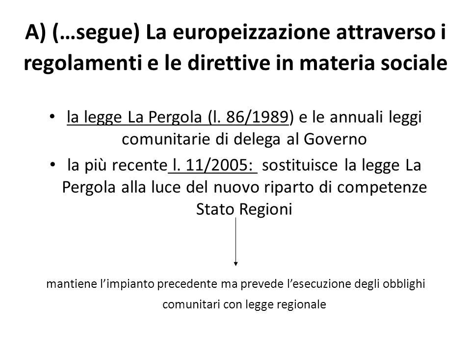 A) (…segue) La europeizzazione attraverso i regolamenti e le direttive in materia sociale la legge La Pergola (l. 86/1989) e le annuali leggi comunita