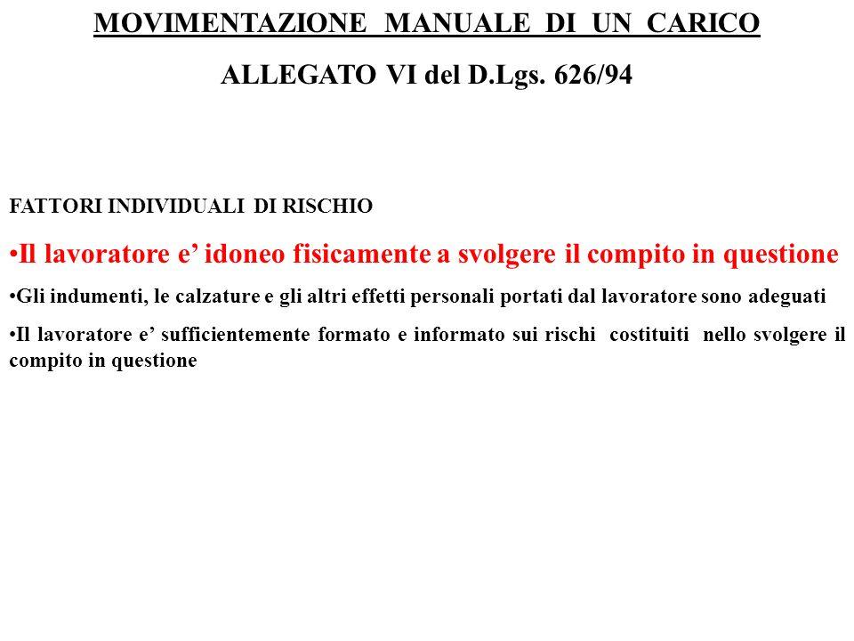 MOVIMENTAZIONE MANUALE DI UN CARICO ALLEGATO VI del D.Lgs. 626/94 FATTORI INDIVIDUALI DI RISCHIO Il lavoratore e idoneo fisicamente a svolgere il comp