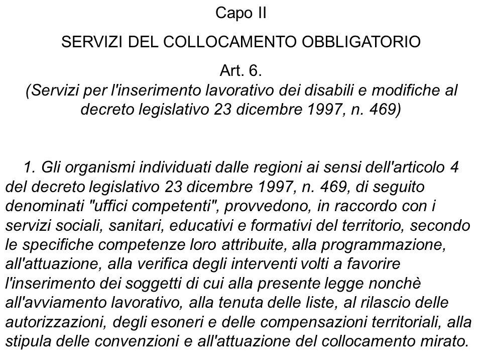 Capo II SERVIZI DEL COLLOCAMENTO OBBLIGATORIO Art. 6. (Servizi per l'inserimento lavorativo dei disabili e modifiche al decreto legislativo 23 dicembr