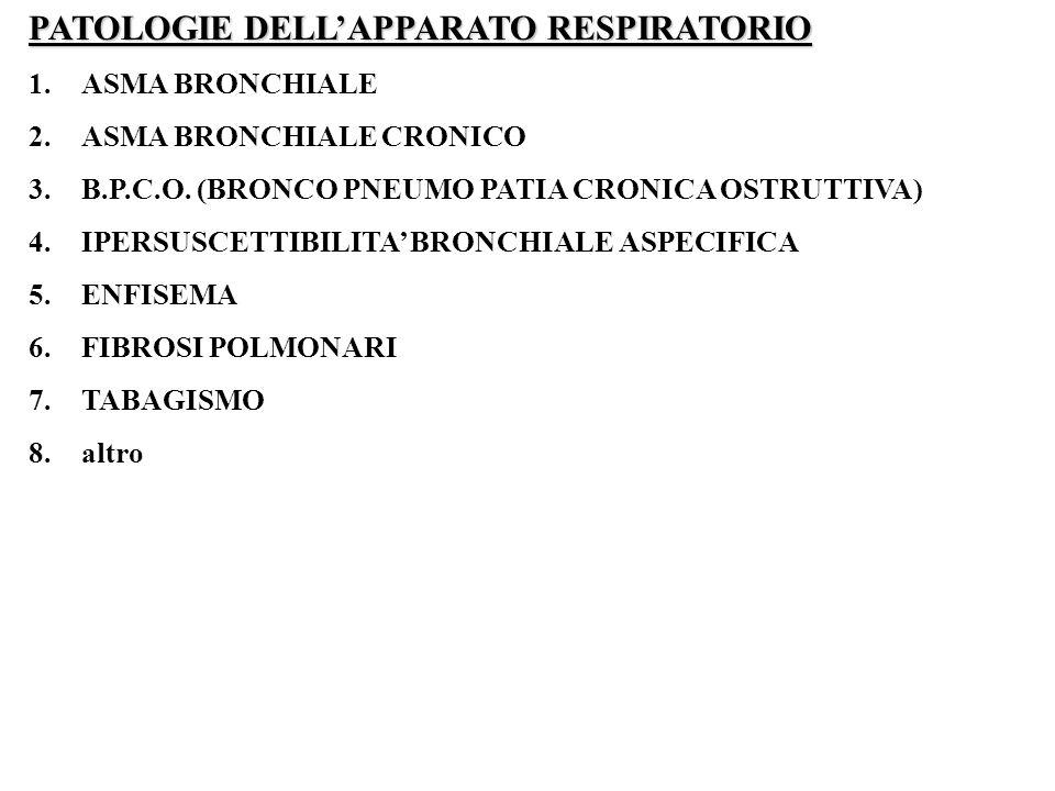 PATOLOGIE DELLAPPARATO RESPIRATORIO 1.ASMA BRONCHIALE 2.ASMA BRONCHIALE CRONICO 3.B.P.C.O. (BRONCO PNEUMO PATIA CRONICA OSTRUTTIVA) 4.IPERSUSCETTIBILI