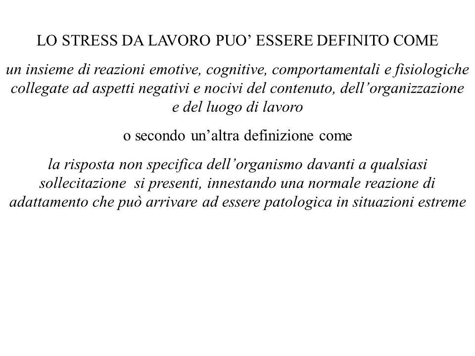 LO STRESS DA LAVORO PUO ESSERE DEFINITO COME un insieme di reazioni emotive, cognitive, comportamentali e fisiologiche collegate ad aspetti negativi e