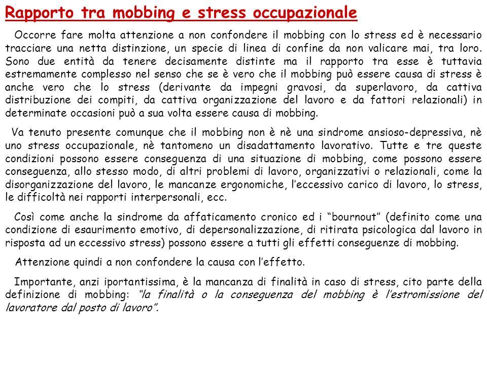Rapporto tra mobbing e stress occupazionale Occorre fare molta attenzione a non confondere il mobbing con lo stress ed è necessario tracciare una nett