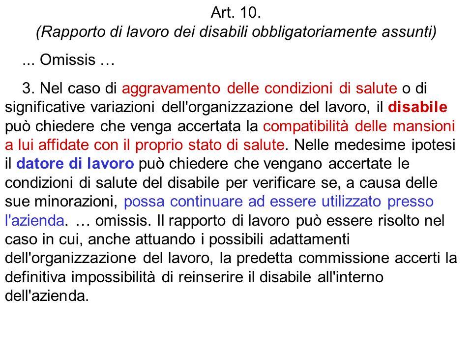 Art. 10. (Rapporto di lavoro dei disabili obbligatoriamente assunti)... Omissis … 3. Nel caso di aggravamento delle condizioni di salute o di signific