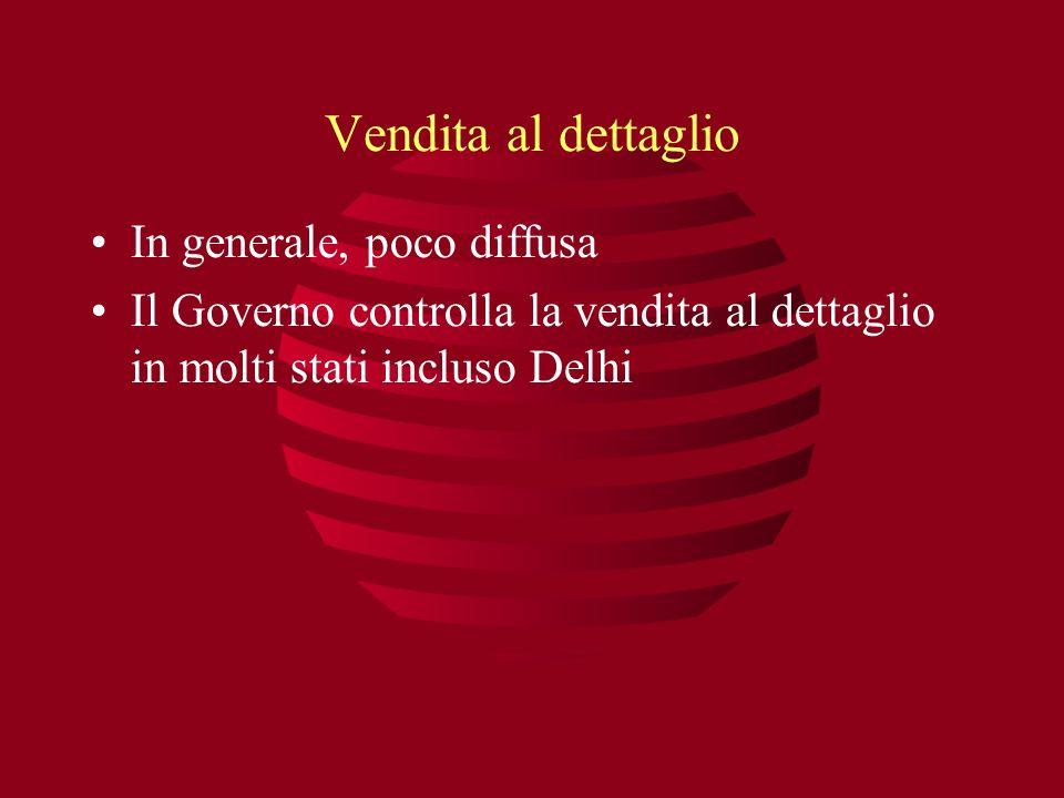 Vendita al dettaglio In generale, poco diffusa Il Governo controlla la vendita al dettaglio in molti stati incluso Delhi