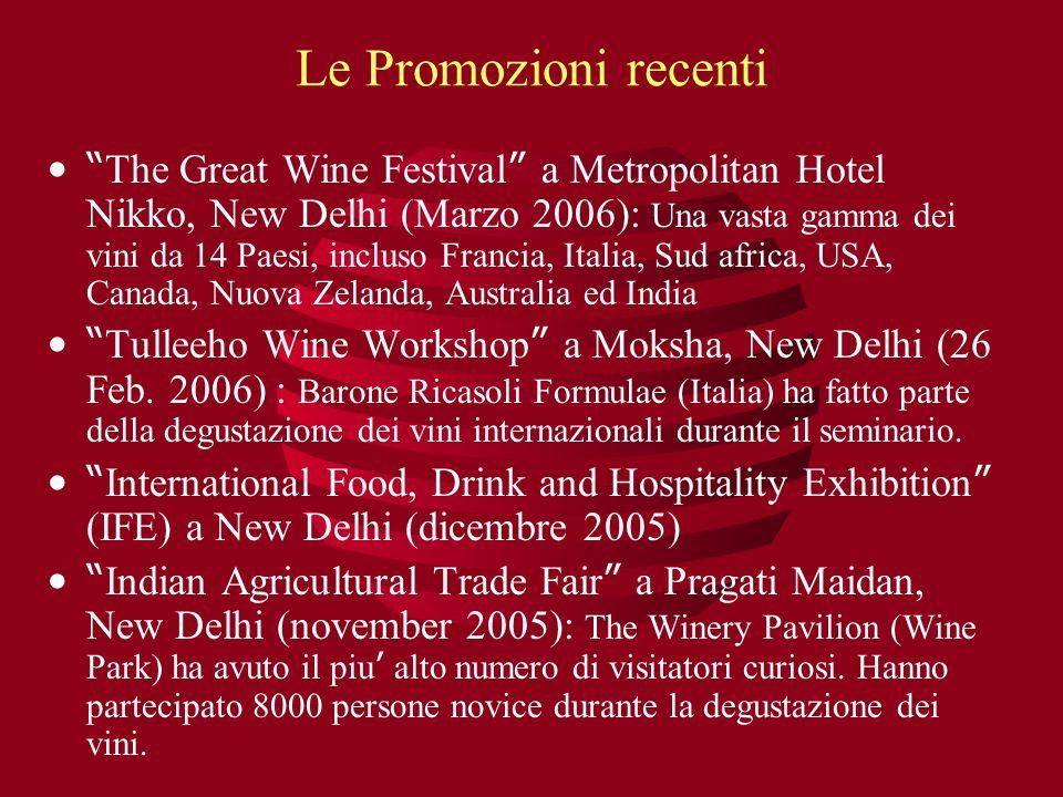 Le Promozioni recenti The Great Wine Festival a Metropolitan Hotel Nikko, New Delhi (Marzo 2006): Una vasta gamma dei vini da 14 Paesi, incluso Franci