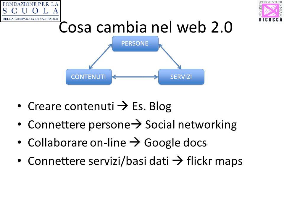 Cosa cambia nel web 2.0 Creare contenuti Es.