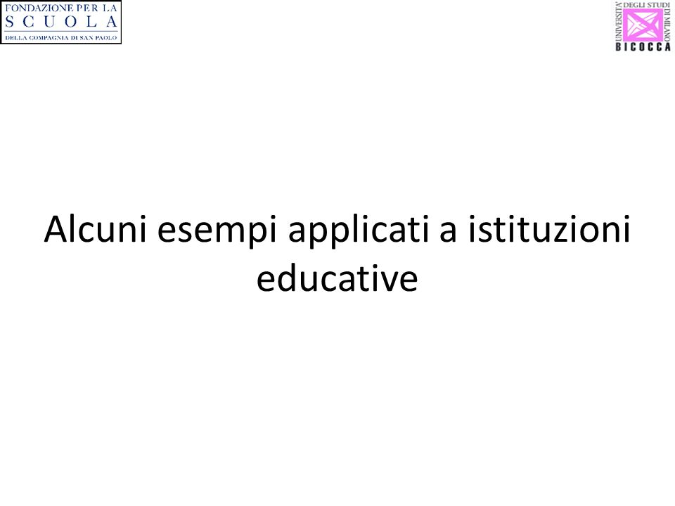 Alcuni esempi applicati a istituzioni educative