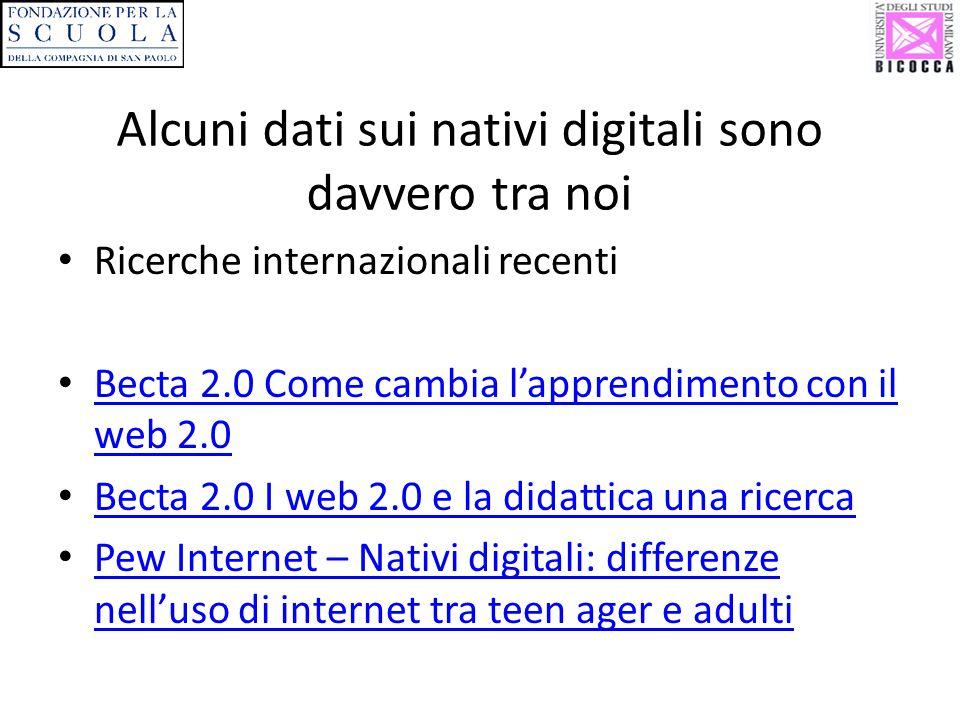 Alcuni dati sui nativi digitali sono davvero tra noi Ricerche internazionali recenti Becta 2.0 Come cambia lapprendimento con il web 2.0 Becta 2.0 Come cambia lapprendimento con il web 2.0 Becta 2.0 I web 2.0 e la didattica una ricerca Pew Internet – Nativi digitali: differenze nelluso di internet tra teen ager e adulti Pew Internet – Nativi digitali: differenze nelluso di internet tra teen ager e adulti