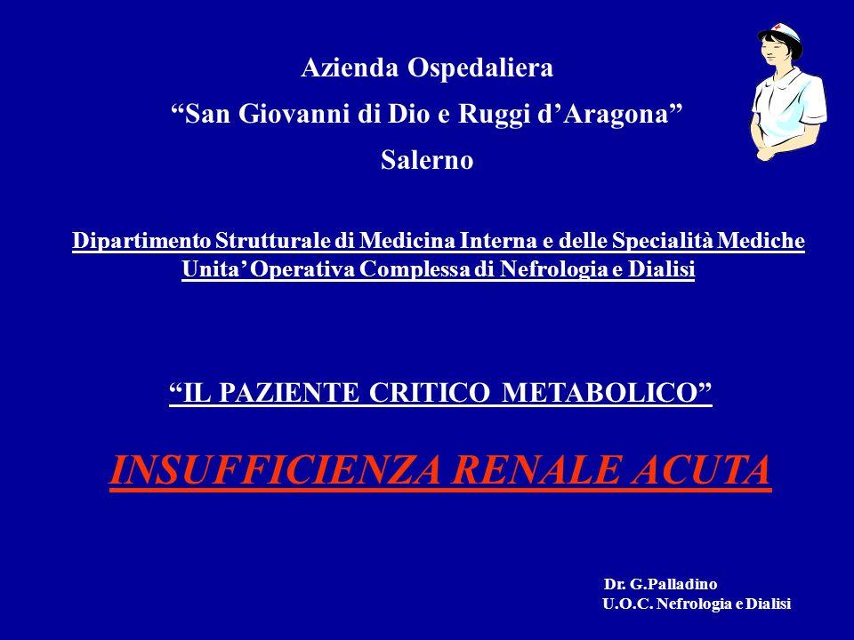 DANNO RENALE ORGANICO IPOPERFUSIONE RENALE NECROSI TUBULARE ACUTA - NTA I.R.A.