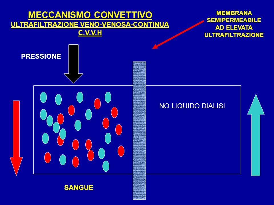 MECCANISMO CONVETTIVO ULTRAFILTRAZIONE VENO-VENOSA-CONTINUA C.V.V.H PRESSIONE MEMBRANA SEMIPERMEABILE AD ELEVATA ULTRAFILTRAZIONE NO LIQUIDO DIALISI S