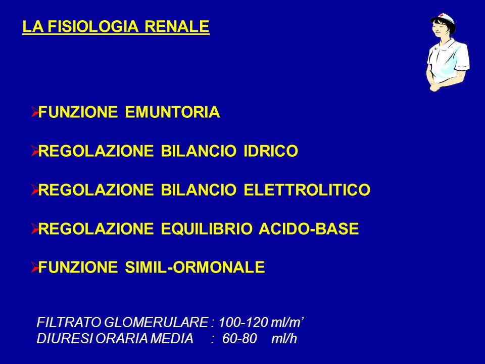 LA FISIOLOGIA RENALE FUNZIONE EMUNTORIA REGOLAZIONE BILANCIO IDRICO REGOLAZIONE BILANCIO ELETTROLITICO REGOLAZIONE EQUILIBRIO ACIDO-BASE FUNZIONE SIMI