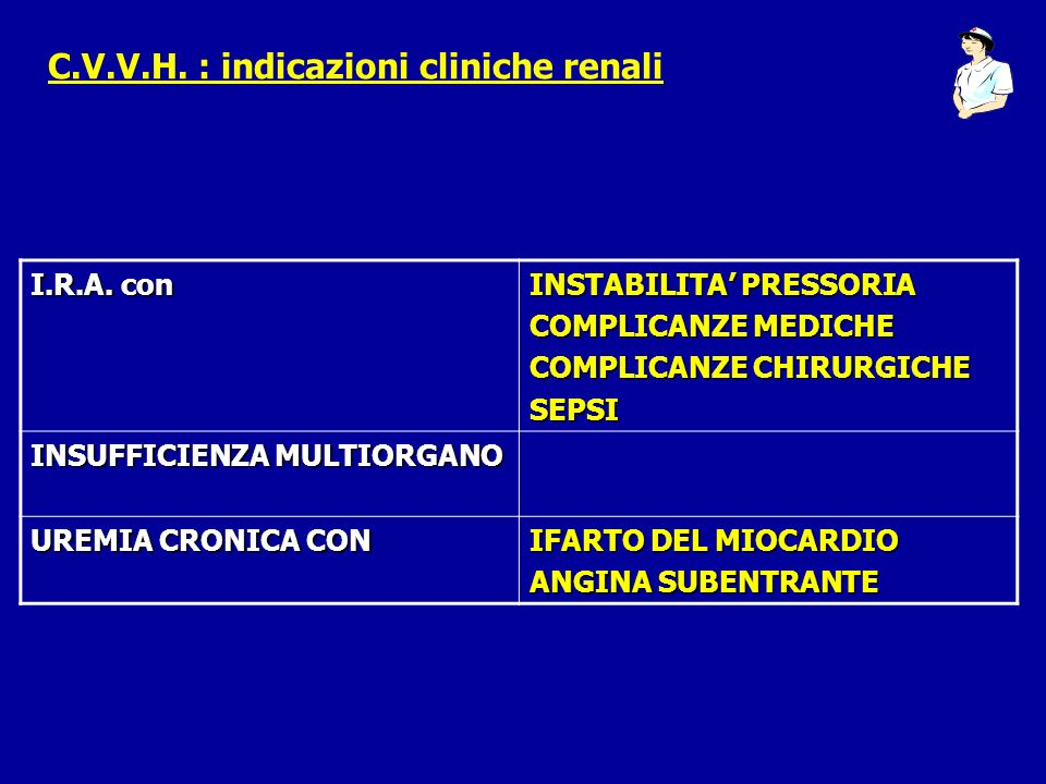 C.V.V.H. : indicazioni cliniche renali I.R.A. con INSTABILITA PRESSORIA COMPLICANZE MEDICHE COMPLICANZE CHIRURGICHE SEPSI INSUFFICIENZA MULTIORGANO UR