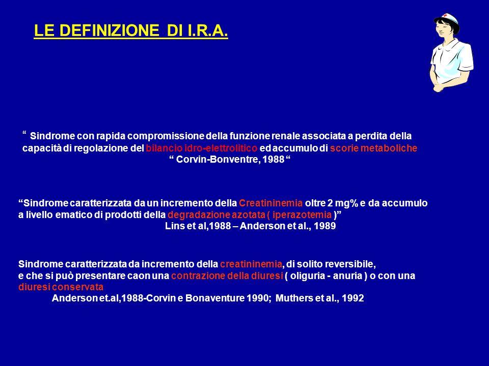 VALORE DELLA SODIURIA (vn 20-200 meq/lt) I.R.A. : FUNZIONALE O ORGANICA