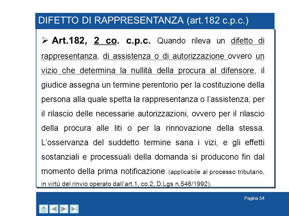 Pagina 54 DIFETTO DI RAPPRESENTANZA (art.182 c.p.c.) Art.182, 2 co. c.p.c. Quando rileva un difetto di rappresentanza, di assistenza o di autorizzazio