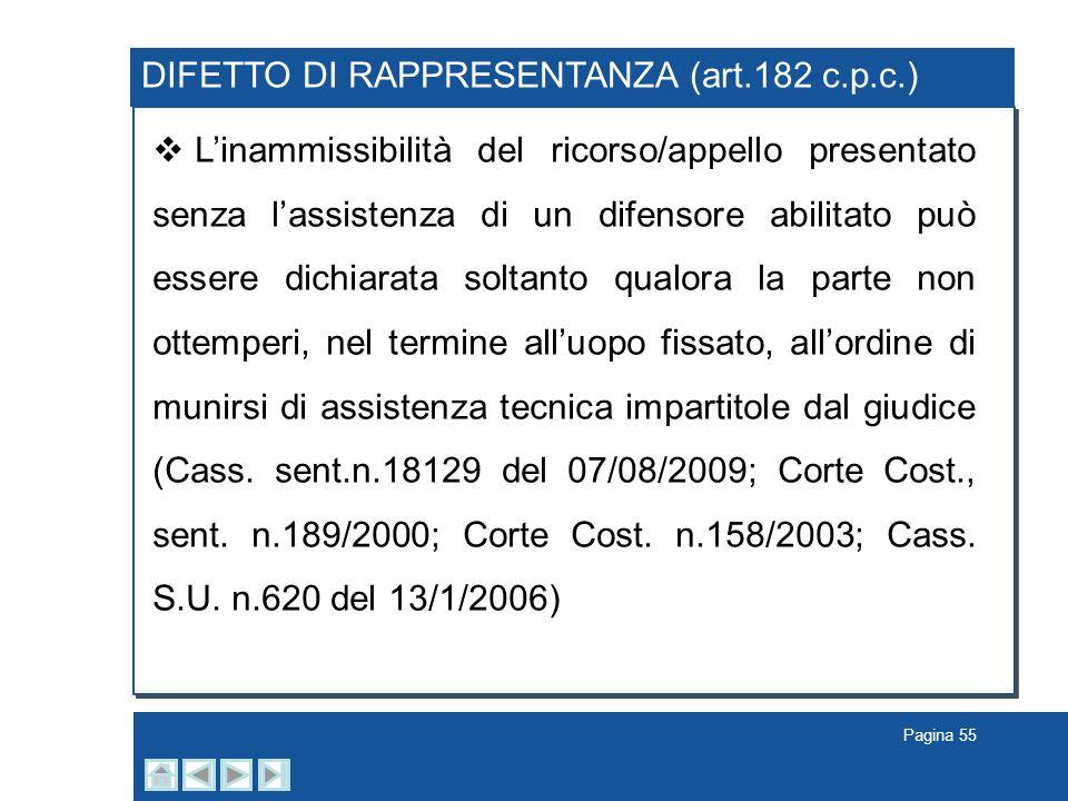 Pagina 55 DIFETTO DI RAPPRESENTANZA (art.182 c.p.c.) Linammissibilità del ricorso/appello presentato senza lassistenza di un difensore abilitato può e
