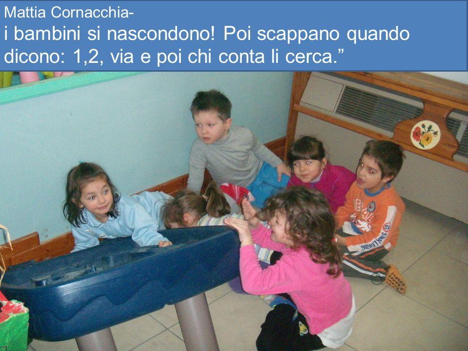 Mattia Cornacchia- i bambini si nascondono! Poi scappano quando dicono: 1,2, via e poi chi conta li cerca.