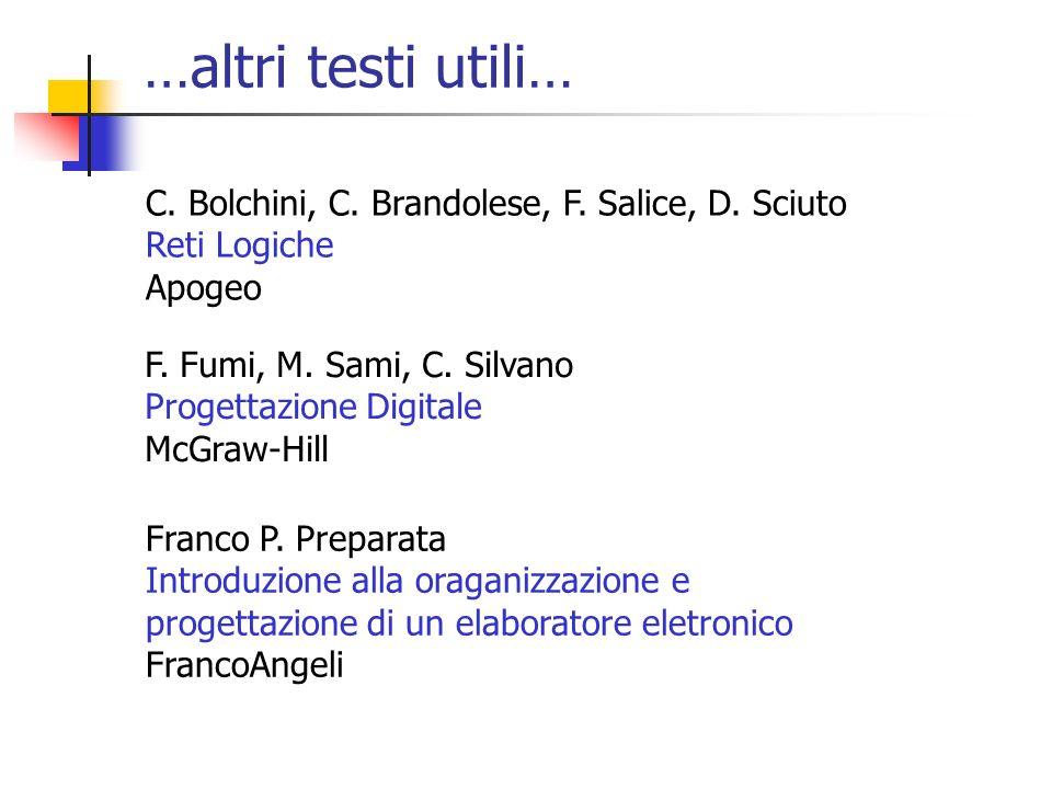…altri testi utili… F. Fumi, M. Sami, C. Silvano Progettazione Digitale McGraw-Hill Franco P. Preparata Introduzione alla oraganizzazione e progettazi