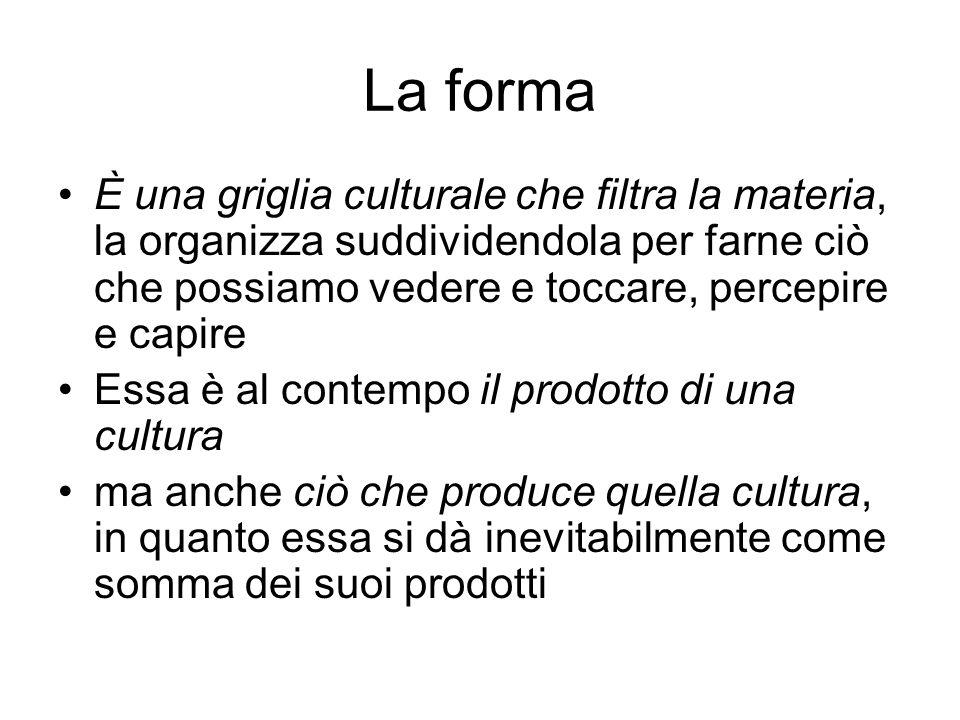 La forma È una griglia culturale che filtra la materia, la organizza suddividendola per farne ciò che possiamo vedere e toccare, percepire e capire Es