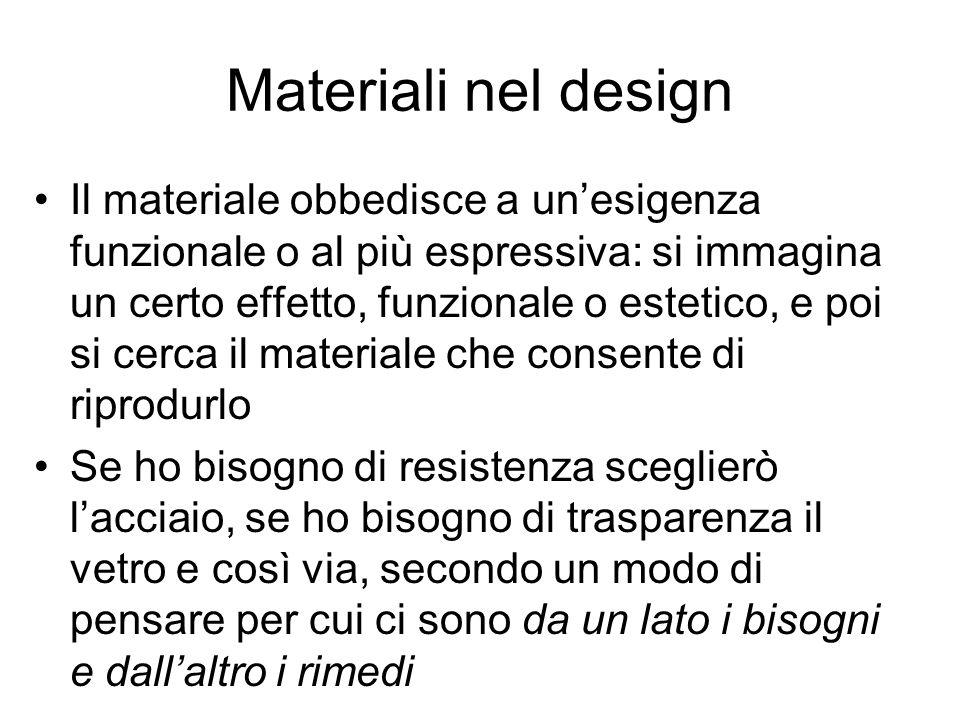 Materiali nel design Il materiale obbedisce a unesigenza funzionale o al più espressiva: si immagina un certo effetto, funzionale o estetico, e poi si