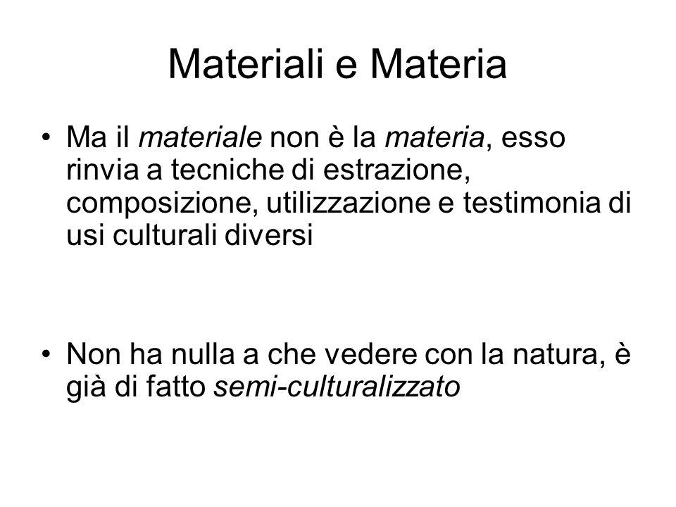 Materiali e Materia Ma il materiale non è la materia, esso rinvia a tecniche di estrazione, composizione, utilizzazione e testimonia di usi culturali