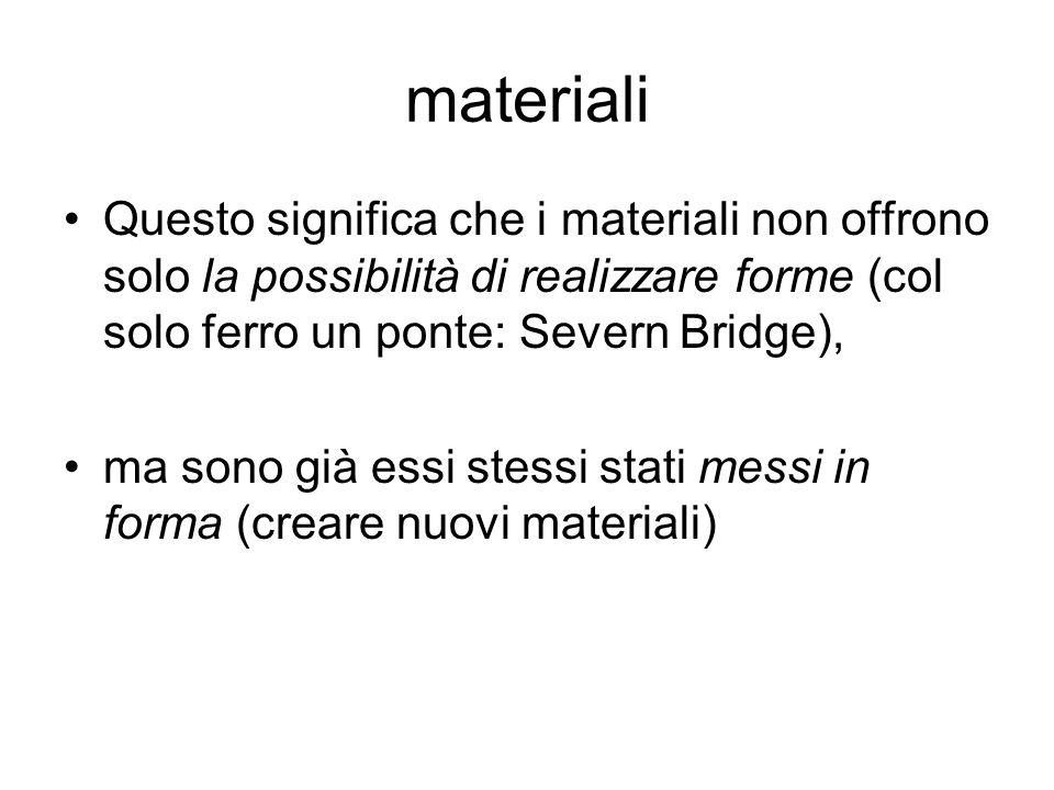 materiali Questo significa che i materiali non offrono solo la possibilità di realizzare forme (col solo ferro un ponte: Severn Bridge), ma sono già e
