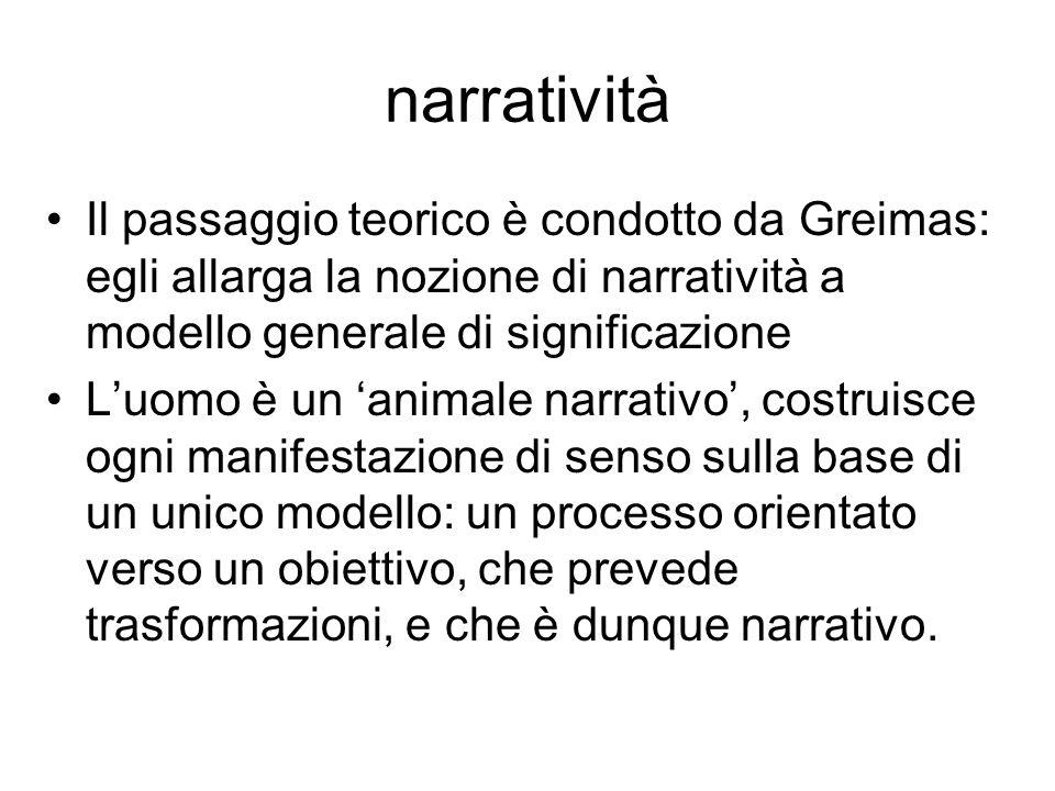 narratività Il passaggio teorico è condotto da Greimas: egli allarga la nozione di narratività a modello generale di significazione Luomo è un animale
