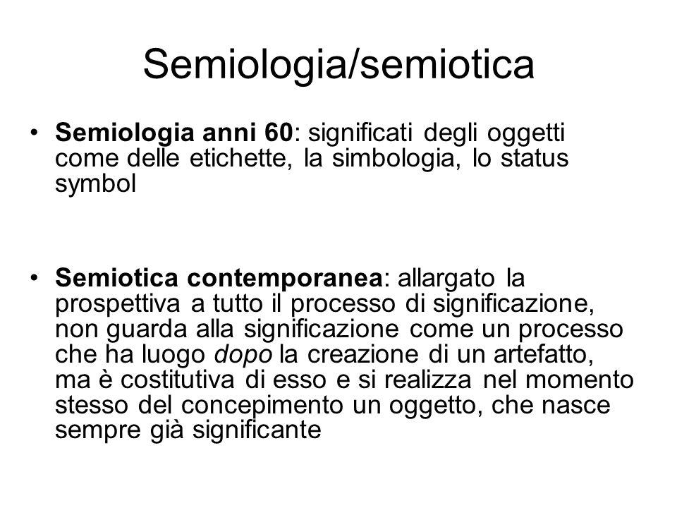 Semiologia/semiotica Semiologia anni 60: significati degli oggetti come delle etichette, la simbologia, lo status symbol Semiotica contemporanea: alla