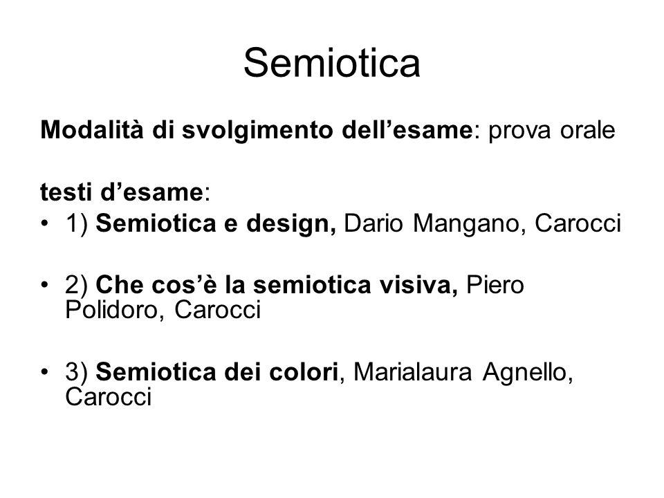 Semiotica Modalità di svolgimento dellesame: prova orale testi desame: 1) Semiotica e design, Dario Mangano, Carocci 2) Che cosè la semiotica visiva,